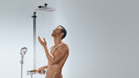 Hansgrohe Душевая система Raindance Select E 300 2jet ST Showerpipe арт.27126000. Изображение №3